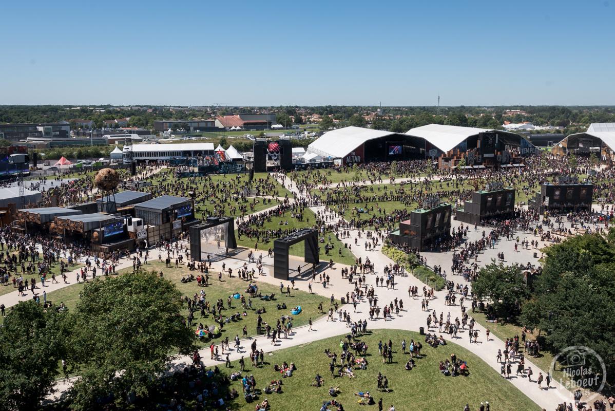 Il s'agit du site du Hellfest 2018 vue aérienne Grande Roue